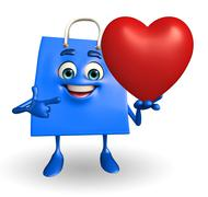 Shopping bag character with heart Stock Illustration
