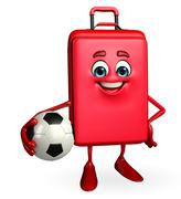 Travelling bag chatacter with football Stock Illustration
