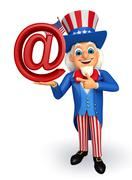 uncle sam with at the rate sign - stock illustration