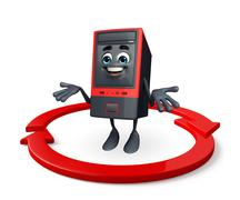 Stock Illustration of computer cabinet character with arrow