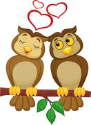 Cute couple cartoon owl in love - stock illustration