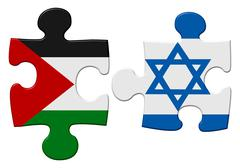 israel and palestine conflict flag puzzle - stock illustration