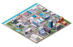 Isometric industrial and business city district map - stock illustration