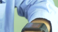 4K Man Using Smartwatch On Wrist Wearable Technology Stock Footage