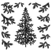 Christmas tree and branches silhouettes Piirros