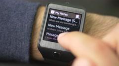4K Message Notification Smartwatch Mail Cheking Stock Footage