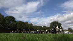 Classic cavalry big quadrille parade passing by low angle Stock Footage