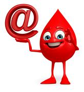 blood drop character with at the rate sign - stock illustration
