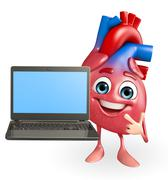 Heart character with laptop Stock Illustration