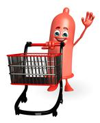 Condom character with trolley Stock Illustration