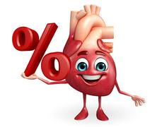 Heart character with percent sign Stock Illustration