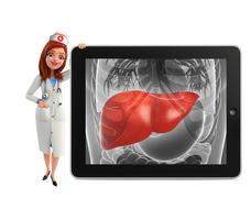 Stock Illustration of nurse character with  liver anatomy
