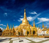 Shwedagon pagoda - stock illustration