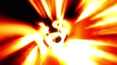 Flight down twisting psychedelic fire orange tunnel wormhole loop 1 Stock Footage