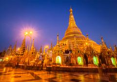 Stock Illustration of Shwedagon pagoda in the evening