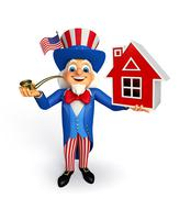 uncle sam with home sign - stock illustration