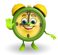 Table clock character with stop pose Stock Illustration