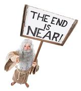Prophet with a sign of the end is near Stock Photos