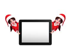 Stock Illustration of santa girl character with tab