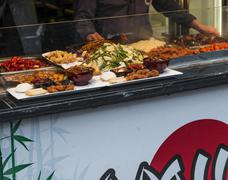 typical chinese food exposed in camden town - stock photo