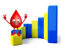 blood drop character with business graph - stock illustration
