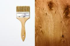 Renovation brush on white with wooden texture Stock Photos