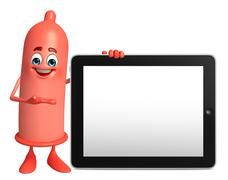 Stock Illustration of condom character with tab