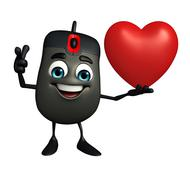 computer mouse character with red heart - stock illustration