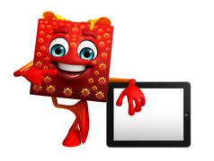 Gift box character with tab Stock Illustration