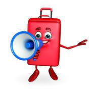 Travelling bag chatacter with loudspeaker Stock Illustration