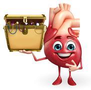 heart character with treasure box - stock illustration
