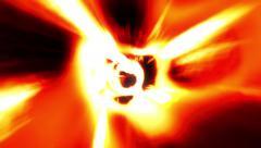 Flight down twisting psychedelic fire orange tunnel wormhole loop 3 Stock Footage