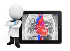 young doctor with heart anatomy - stock illustration