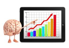 Brain character with business graph Stock Illustration