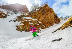 Off-piste skiing Stock Photos