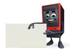 Computer cabinet character with sign Stock Illustration