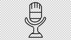 Microphone mic animation illustration hand drawing transparent background Stock Footage