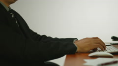 Man Office Typing Sign Ipad Stock Footage