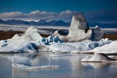 jokulsarlon glacier lagoon in vatnajokull national park, iceland - stock photo