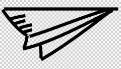 Paper Plane animation illustration line drawing transparent background Stock Footage