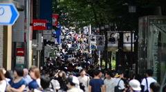 Time Lapse of Crowded Sidewalk in Central Tokyo Japan Stock Footage