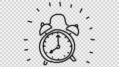 Ringing clock animated illustration whiteboard drawing  transparent background Stock Footage
