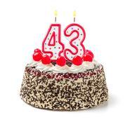 birthday cake with burning candle number 43 - stock photo