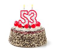 birthday cake with burning candle number 53 - stock photo