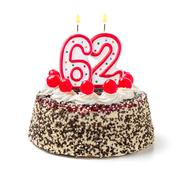 birthday cake with burning candle number 62 - stock photo