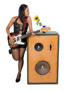 Woman with electric guitar and a great speaker - stock photo