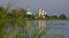 View of Spaso-Yakovlevsky Monastery in Rostov Veliky from Nero's lake Stock Footage