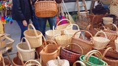 Buying wicker basket, 4K Stock Footage