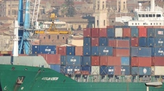 Sea Container unloading in port of Catania. Stock Footage