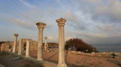 Ruins of the ancient Greek city of Chersonese, Sevastopol, Crimea Stock Footage